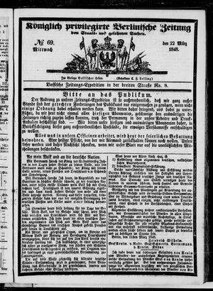 Königlich privilegirte Berlinische Zeitung von Staats- und gelehrten Sachen vom 22.03.1848