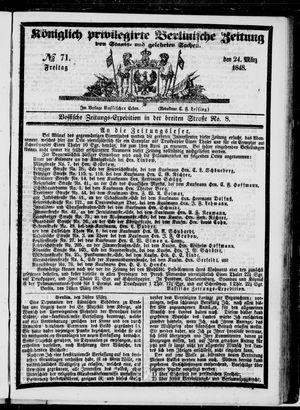 Königlich privilegirte Berlinische Zeitung von Staats- und gelehrten Sachen vom 24.03.1848