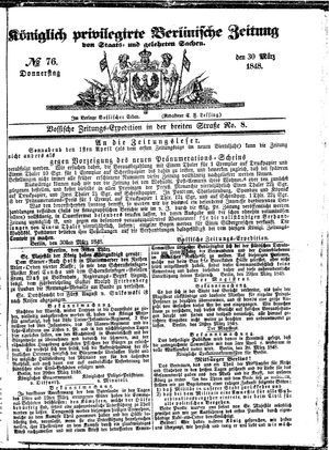 Königlich privilegirte Berlinische Zeitung von Staats- und gelehrten Sachen vom 30.03.1848