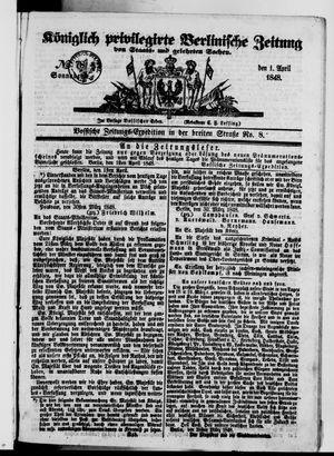 Königlich privilegirte Berlinische Zeitung von Staats- und gelehrten Sachen vom 01.04.1848