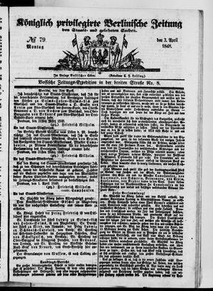 Königlich privilegirte Berlinische Zeitung von Staats- und gelehrten Sachen vom 03.04.1848