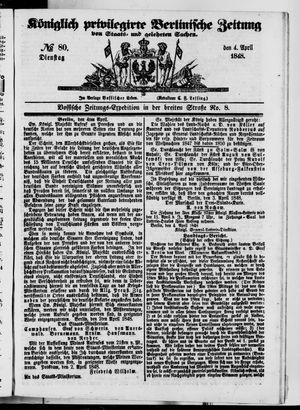 Königlich privilegirte Berlinische Zeitung von Staats- und gelehrten Sachen vom 04.04.1848