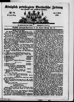 Königlich privilegirte Berlinische Zeitung von Staats- und gelehrten Sachen vom 06.04.1848