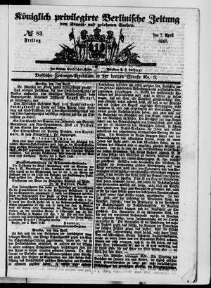 Königlich privilegirte Berlinische Zeitung von Staats- und gelehrten Sachen vom 07.04.1848