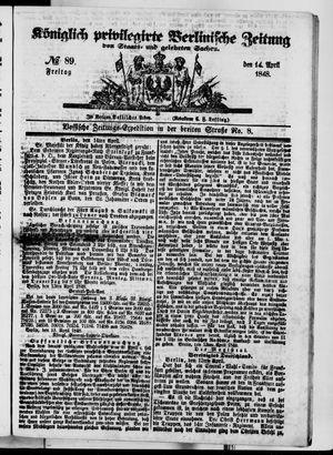 Königlich privilegirte Berlinische Zeitung von Staats- und gelehrten Sachen vom 14.04.1848