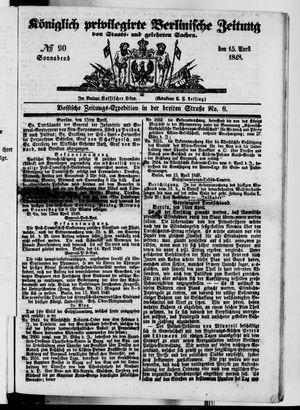 Königlich privilegirte Berlinische Zeitung von Staats- und gelehrten Sachen vom 15.04.1848