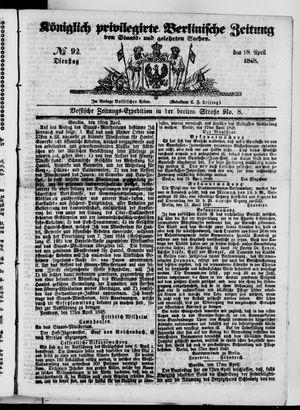 Königlich privilegirte Berlinische Zeitung von Staats- und gelehrten Sachen vom 18.04.1848