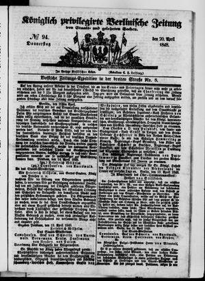 Königlich privilegirte Berlinische Zeitung von Staats- und gelehrten Sachen vom 20.04.1848