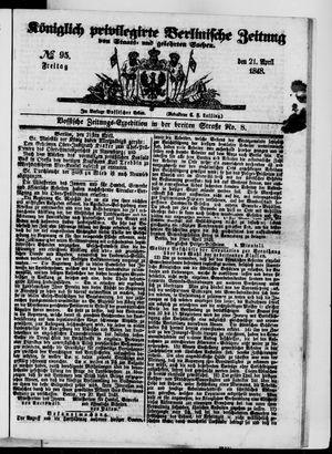 Königlich privilegirte Berlinische Zeitung von Staats- und gelehrten Sachen vom 21.04.1848