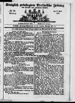 Königlich privilegirte Berlinische Zeitung von Staats- und gelehrten Sachen vom 23.04.1848