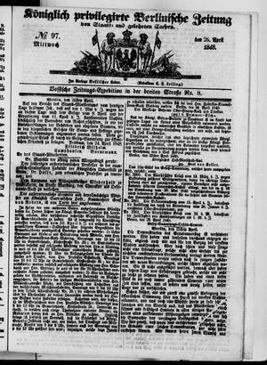 Königlich privilegirte Berlinische Zeitung von Staats- und gelehrten Sachen vom 26.04.1848