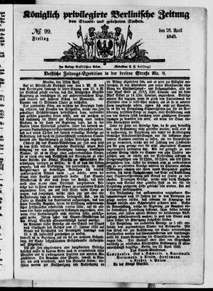 Königlich privilegirte Berlinische Zeitung von Staats- und gelehrten Sachen vom 28.04.1848