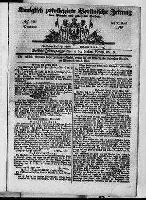 Königlich privilegirte Berlinische Zeitung von Staats- und gelehrten Sachen vom 30.04.1848