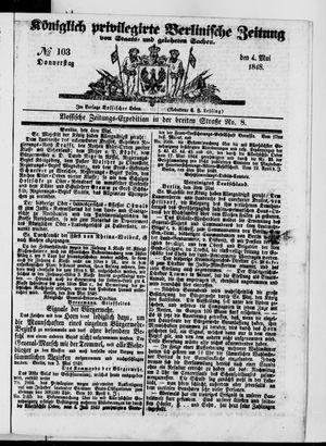 Königlich privilegirte Berlinische Zeitung von Staats- und gelehrten Sachen vom 04.05.1848
