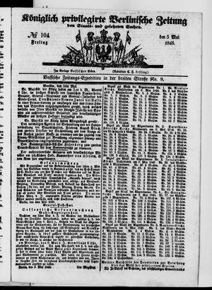 Königlich privilegirte Berlinische Zeitung von Staats- und gelehrten Sachen vom 05.05.1848