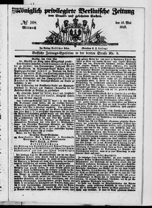 Königlich privilegirte Berlinische Zeitung von Staats- und gelehrten Sachen vom 10.05.1848