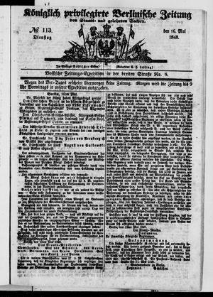 Königlich privilegirte Berlinische Zeitung von Staats- und gelehrten Sachen vom 16.05.1848