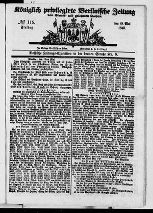Königlich privilegirte Berlinische Zeitung von Staats- und gelehrten Sachen vom 19.05.1848
