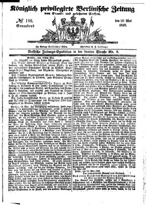 Königlich privilegirte Berlinische Zeitung von Staats- und gelehrten Sachen vom 20.05.1848