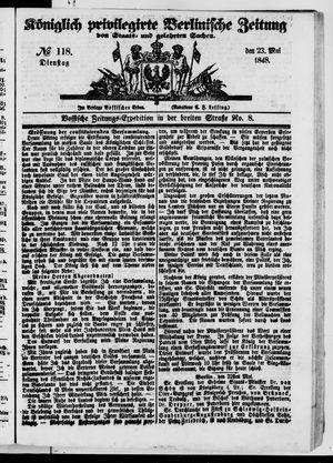 Königlich privilegirte Berlinische Zeitung von Staats- und gelehrten Sachen vom 23.05.1848