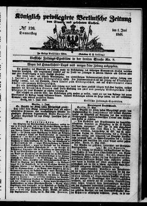 Königlich privilegirte Berlinische Zeitung von Staats- und gelehrten Sachen on Jun 1, 1848