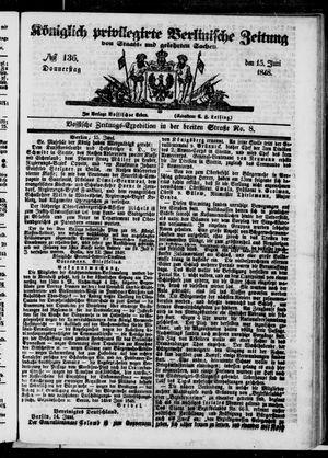 Königlich privilegirte Berlinische Zeitung von Staats- und gelehrten Sachen vom 15.06.1848