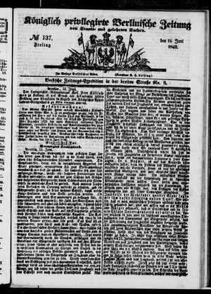 Königlich privilegirte Berlinische Zeitung von Staats- und gelehrten Sachen vom 16.06.1848