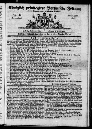 Königlich privilegirte Berlinische Zeitung von Staats- und gelehrten Sachen vom 24.06.1848