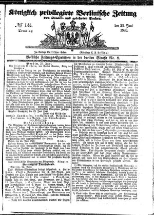 Königlich privilegirte Berlinische Zeitung von Staats- und gelehrten Sachen vom 25.06.1848
