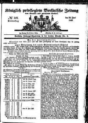 Königlich privilegirte Berlinische Zeitung von Staats- und gelehrten Sachen vom 29.06.1848