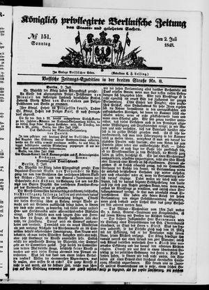 Königlich privilegirte Berlinische Zeitung von Staats- und gelehrten Sachen vom 02.07.1848