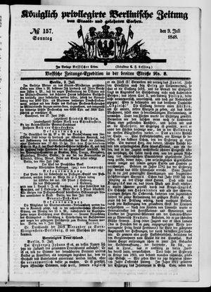 Königlich privilegirte Berlinische Zeitung von Staats- und gelehrten Sachen vom 09.07.1848
