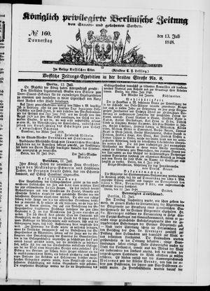 Königlich privilegirte Berlinische Zeitung von Staats- und gelehrten Sachen vom 13.07.1848