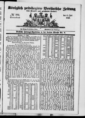 Königlich privilegirte Berlinische Zeitung von Staats- und gelehrten Sachen vom 15.07.1848