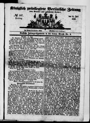 Königlich privilegirte Berlinische Zeitung von Staats- und gelehrten Sachen vom 21.07.1848