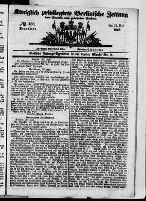 Königlich privilegirte Berlinische Zeitung von Staats- und gelehrten Sachen vom 22.07.1848