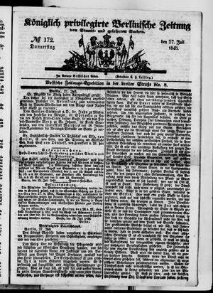 Königlich privilegirte Berlinische Zeitung von Staats- und gelehrten Sachen vom 27.07.1848