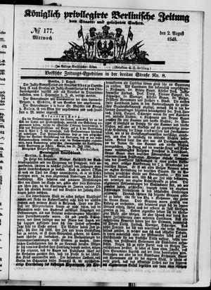 Königlich privilegirte Berlinische Zeitung von Staats- und gelehrten Sachen vom 02.08.1848