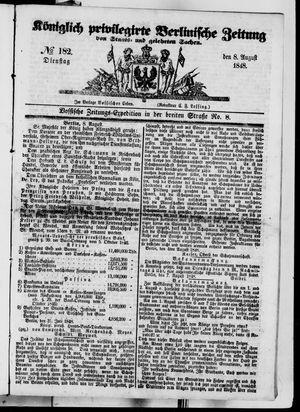 Königlich privilegirte Berlinische Zeitung von Staats- und gelehrten Sachen vom 08.08.1848