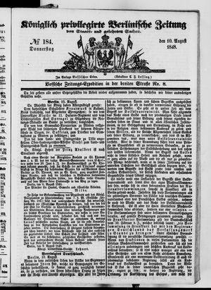 Königlich privilegirte Berlinische Zeitung von Staats- und gelehrten Sachen vom 10.08.1848