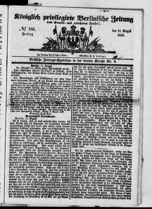 Königlich privilegirte Berlinische Zeitung von Staats- und gelehrten Sachen vom 11.08.1848