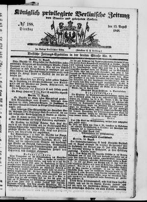 Königlich privilegirte Berlinische Zeitung von Staats- und gelehrten Sachen vom 15.08.1848