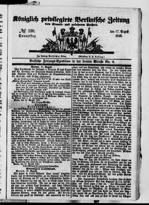 Königlich privilegirte Berlinische Zeitung von Staats- und gelehrten Sachen vom 17.08.1848