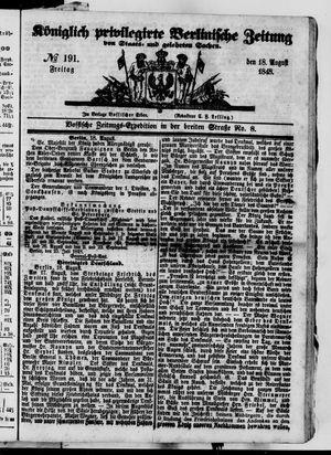 Königlich privilegirte Berlinische Zeitung von Staats- und gelehrten Sachen on Aug 18, 1848