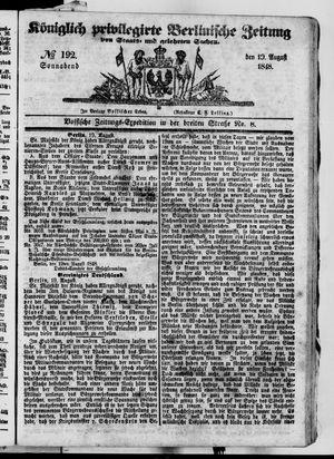Königlich privilegirte Berlinische Zeitung von Staats- und gelehrten Sachen vom 19.08.1848