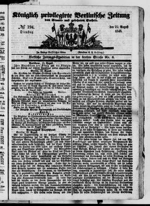 Königlich privilegirte Berlinische Zeitung von Staats- und gelehrten Sachen on Aug 22, 1848