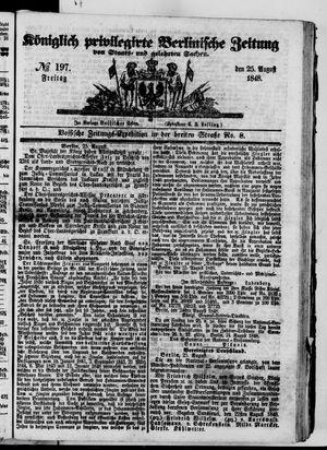 Königlich privilegirte Berlinische Zeitung von Staats- und gelehrten Sachen on Aug 25, 1848