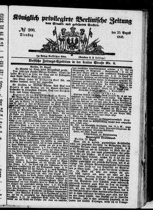 Königlich privilegirte Berlinische Zeitung von Staats- und gelehrten Sachen vom 29.08.1848
