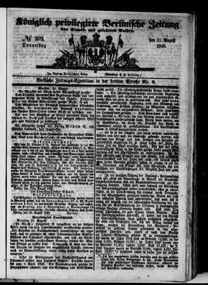 Königlich privilegirte Berlinische Zeitung von Staats- und gelehrten Sachen vom 31.08.1848