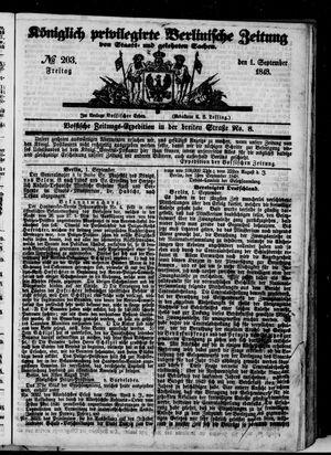 Königlich privilegirte Berlinische Zeitung von Staats- und gelehrten Sachen vom 01.09.1848